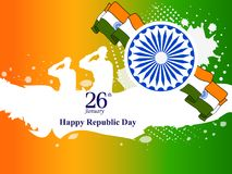 26 January Happy Republic Day of India background. Vector illustration of 26 January Happy Republic Day of India background Stock Photos