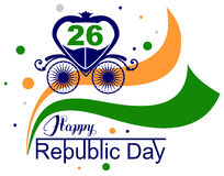 January 26 Happy Republic Day India. Vector illustration with text lettering for greeting card Stock Photos