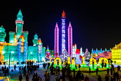January 2015 - Harbin, China - International Ice and Snow Festival. January 2015 - Harbin, China - Ice buildings in the International Ice and Snow Festival Royalty Free Stock Photos