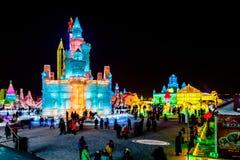 January 2015 - Harbin, China - International Ice and Snow Festival. January 2015 - Harbin, China - Ice buildings in the International Ice and Snow Festival Stock Photos