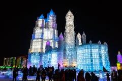 January 2015 - Harbin, China - International Ice and Snow Festival. January 2015 - Harbin, China - Ice buildings in the International Ice and Snow Festival Royalty Free Stock Image