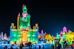 January 2015 - Harbin, China - International Ice and Snow Festival. January 2015 - Harbin, China - Ice buildings in the International Ice and Snow Festival Stock Image