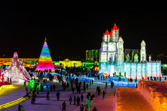 January 2015 - Harbin, China - International Ice and Snow Festival. January 2015 - Harbin, China - Ice buildings in the International Ice and Snow Festival Royalty Free Stock Images