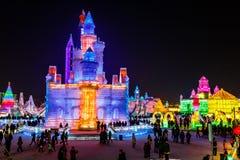 January 2015 - Harbin, China - International Ice and Snow Festival. January 2015 - Harbin, China - Ice buildings in the International Ice and Snow Festival Royalty Free Stock Photo