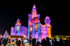 January 2015 - Harbin, International Ice and Snow Festival. January 2015 - Harbin, China - Ice buildings in the International Ice and Snow Festival Royalty Free Stock Images