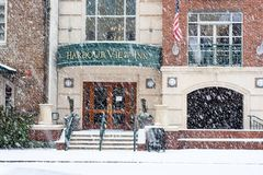 January 3, 2018, Harbour View Inn, Charleston, SC. A rare snowstorm in Charleston, SC hammers the peninsula and the Harbour View Hotel on Vendue Range. Photo stock photo