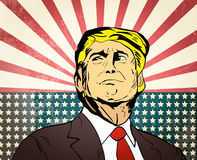 January 25, 2017: illustration of american president Donald Trum. P on national flag background done in hand draw style stock illustration