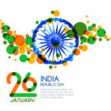 26 of January, India Republic Day. Vector multicolor banner background. Royalty Free Stock Image