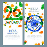 26 of January, India Republic Day. Vector multicolor banners and backgrounds. Royalty Free Stock Photo