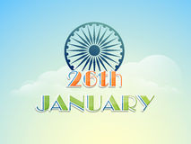 26 January, Indian Republic Day celebration with Ashoka Wheel. Royalty Free Stock Photography