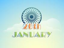 26 January, Indian Republic Day celebration with Ashoka Wheel. Royalty Free Stock Photography