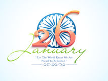 26 January, Indian Republic Day celebration concept. Indian Republic Day celebrations with stylish text 26 January and Ashoka Wheel on blue background Royalty Free Stock Image