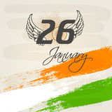 26 January, Indian Republic Day celebration concept. Text of 26 January with wings on Ashoka Wheel and national flag colors background for Indian Republic Day Royalty Free Stock Photography