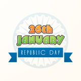 26 January, Indian Republic Day celebration. Indian Republic Day celebration with 26 January text in saffron and green color on Ashoka Wheel decorated white Stock Images