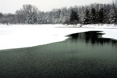 January lake. Fox Lake. Il. Winter in Midwest royalty free stock photo