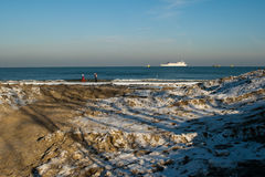 The January landscape. In winter the sea. Polish Baltic coast in winter, Gdansk, Poland Royalty Free Stock Photos