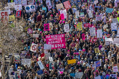 JANUARY 21, 2017, LOS ANGELES, CA. Aerial View of 750,000 participate in Women's March, activists protesting Donald J. Trump in na. Tion's largest march the day Stock Photos