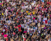 JANUARY 21, 2017, LOS ANGELES, CA. Aerial View of 750,000 participate in Women's March, activists protesting Donald J. Trump in na royalty free stock image