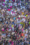 JANUARY 21, 2017, LOS ANGELES, CA. Aerial View of 750,000 participate in Women's March, activists protesting Donald J. Trump in na Stock Photos