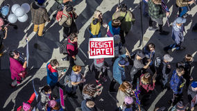 JANUARY 21, 2017, LOS ANGELES, CA. Aerial View of 750,000 participate in Women's March, activists protesting Donald J. Trump in na Royalty Free Stock Images