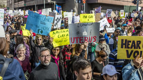 JANUARY 21, 2017, LOS ANGELES, CA. 750,000 participate in Women's March, activists protesting Donald J. Trump in nation's largest  Royalty Free Stock Photography