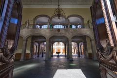 Governors palace in Monterrey Mexico. January 16, 2016 Monterrey, Mexico: the interior of the governor`s palace seen from the entrance royalty free stock photography