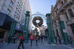 Plaza Morelos Monterrey Mexico. January 16, 2016 Monterrey, Mexico: people walk in the Plaza Morelos shopping area in the business centre of the city royalty free stock photo