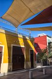Barrio Antiguo architecture in Monterrey Mexico. January 16, 2016 Monterrey, Mexico: shade installed over the street in the historic old town called `Barrio Royalty Free Stock Images