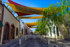 Barrio antiguo Monterrey Mexico. January 16, 2016 Monterrey, Mexico: shade installed over the street in the historic old town called `Barrio Antiguo Stock Images