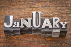 January month in metal type Stock Photography