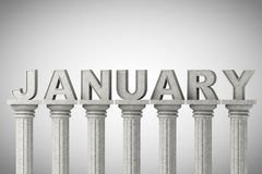 January month sign on a classic columns Stock Photo