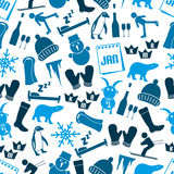 January month theme set of simple icons seamless blue pattern eps10 Stock Images