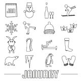 January month theme set of simple outline icons eps10. January month theme set of simple outline icons Stock Images