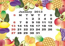 January - monthly calendar 2013. In frame with fruits Stock Images