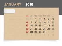 January 2019 - Monthly calendar on brown paper and wood background. January 2019 - Monthly calendar on brown paper and wood background with area for note vector illustration