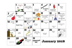January Quirky Holidays and Unusual Celebrations. January monthly calendar illustrated and annotated with daily Quirky Holidays and Unusual Celebrations with Stock Photos