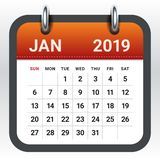 January 2019 monthly calendar vector illustration. Simple and clean design vector illustration