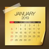 January 2019 monthly calendar vector illustration. Simple and clean design stock illustration