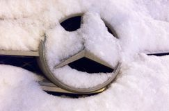 Mercedes, covered with snow royalty free stock photo