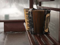 January 2017, Moscow, Russia. The Morning Of The New Year. Forgotten accordion after celebrating the New Year Royalty Free Stock Photo