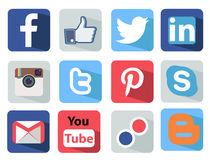 January, 31, 2014 in Moscow, Russia - Social Media. Icons set Illustration most popular of the world Royalty Free Stock Photo
