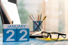 January 22nd. Day 22 of month, calendar on financial adviser workplace background. Winter concept. Empty space for text.  Royalty Free Stock Images
