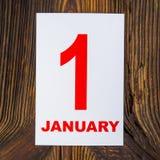 1 january. New Yea-sheet calendar, January 1 Stock Photos