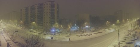 january night snow in Bucharest stock photography