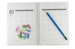 2014 January organizer with pencil & clips. 2014 January organizer with pencil & clips, concept for business planing Stock Illustration