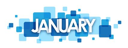 JANUARY blue overlapping squares banner. JANUARY overlapping letters banner on blue semi-transparent squares.  Vector Stock Images