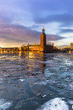 January 21, 2017: Panorama of the City Hall of Stockholm by the Royalty Free Stock Photo