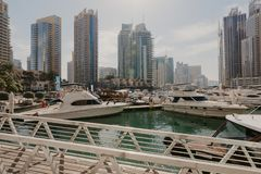January 02, 2019 . Panoramic view with modern skyscrapers and water pier of Dubai Marina , United Arab Emirates royalty free stock images