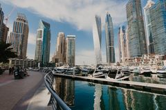 January 02, 2019 . Panoramic view with modern skyscrapers and water pier of Dubai Marina , United Arab Emirates royalty free stock image