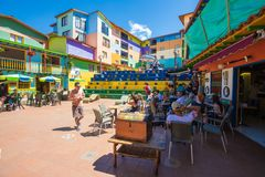 Zocalo central square Guatape Colombia. January 2018 This pedestrian area named Zocalo central square, in the center of Guatape, attractes many visitors in this stock image